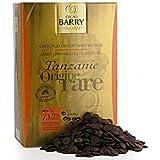 CHOCOLAT DE COUVERTURE BARRY NOIR/TANZANIE ORIGINE RARE 75% /1kg