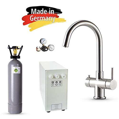 Sprudel-Lok Sprudel aus dem Wasserhahn! Untertisch-Trinkwassersystem – Trinkwassersprudler NEUHEIT! inkl. 3-Wege-Zusatzarmatur Impreza + 2 Kg CO2 Flasche und Anschluss-Set. Made in Germany