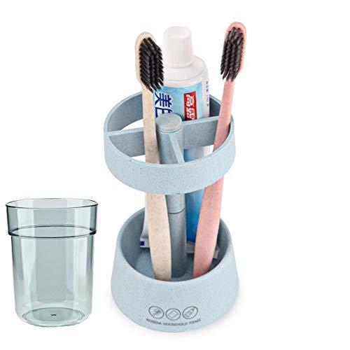 Wekity Zahnbürstenhalter Staubdicht Tasse Sub-Grid Design Große Zahnbürste und Zahnpasta Lagerung Organizer mit Cup Stehen für Badezimmer Vanity Theken Blau -