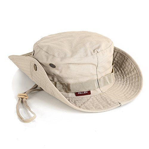 Pellor Boonie Bucket Hat Military Fishing Camping Hunting Wide Brim Bucket Men Outdoor Sun-shading Sun Hat Travel Cap Fishing Cap (Khaki)