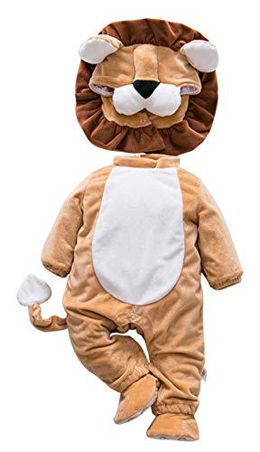 Eozy neonato pagliaccetto bambino tutina fumetto outfits costume animale bimba con scarpine leone petto 64cm