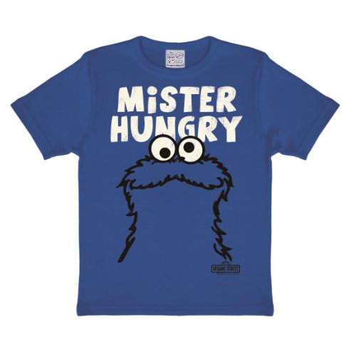 Logoshirt Jungen Hemd Sesame St. -Cookie Monster-Mr. Hungry, Blau (Azure Blue), 8-9 Jahre