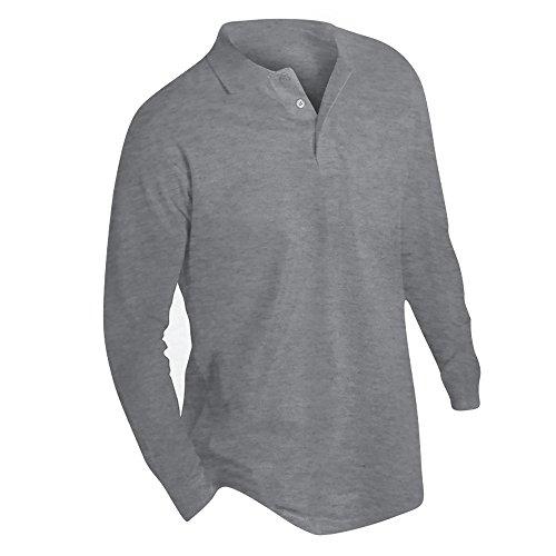 SOLS Herren Winter II Pique Langarm-Shirt / Polo-Shirt, Langarm Grau Meliert
