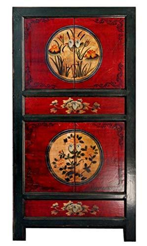 OPIUM OUTLET chinesischer Schrank Hochzeitsschrank rot-schwarz Vintage Kolonialstil Shabby Chic Stil Bunte Motive (Design 1)