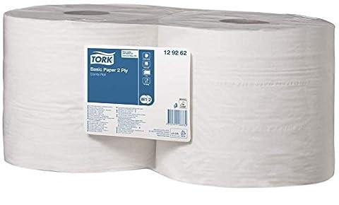 TORK 129262 Papier d'essuyage Basic Bobine à Dévidage Central W1/W2, 340 m x 23,5 cm, vendu par lot de 2