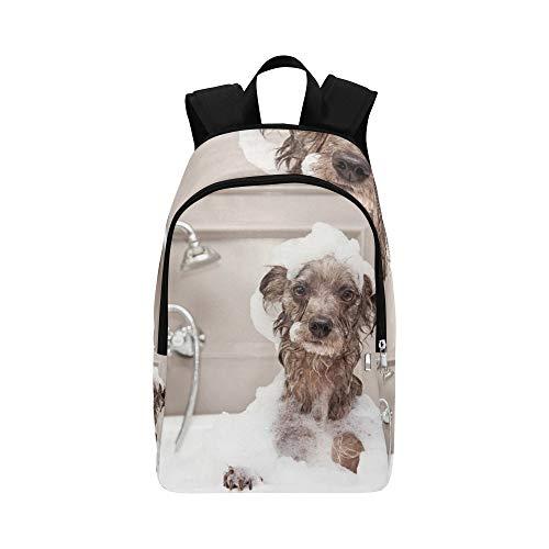 Hund nehmen Sie eine Dusche mit Seife und Wasser lässig Daypack Reisetasche College School Rucksack für Männer und Frauen (Bräutigam Badewanne)