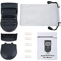 Detector de analizador de alcoholímetro portátil de la policía Probador de aliento de alcohol digital LCD LCD con 5 piezas de boca desechables 818