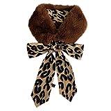 JAGENIE Womens Winter Kunstpelz Schal Leopard Print Cute Ball Kragen Schal verdicken wärmer