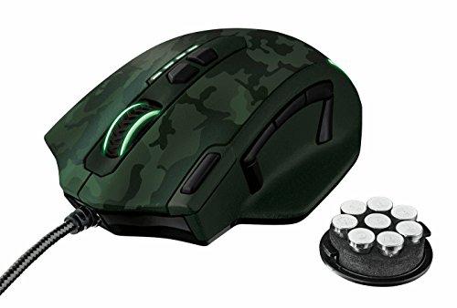 Foto Trust GXT 155C Elite Mouse da Gioco, Pesi Integrati Personalizzabili e Memoria Interna, Verde Camuffamento