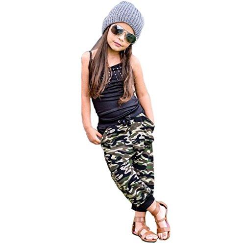 Vovotrade Cool Sommer Kleinkind Kinder Baby Girl Ärmellos Tops + Camouflage Lange Hosen Outfits Kleider Set Für 2 bis 7 Jahre Alt Mädchen (Größe: 3 / 4 Jahre alt)