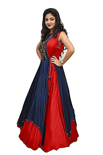 Gowns for women party wear long fancy silk embroidered semi-stitched Indo Western, Latest designer party wear salwar suits lehenga choli for wedding function, low price anarkali dress long kurti for girls (Red)  available at amazon for Rs.444