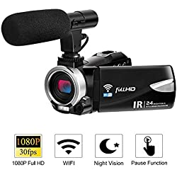Cámara de videograbadora con micrófono FHD 1080P 30 FPS 24.0 MP Videocámaras con cámara de Video Videocámara WiFi con visión Nocturna Zoom Digital 16X Salida HDMI