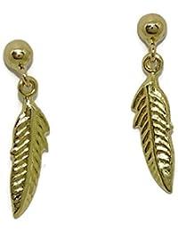 bccbb57f9de7 Pendientes de oro amarillo de 18Ktes pluma de moda con cierre presion