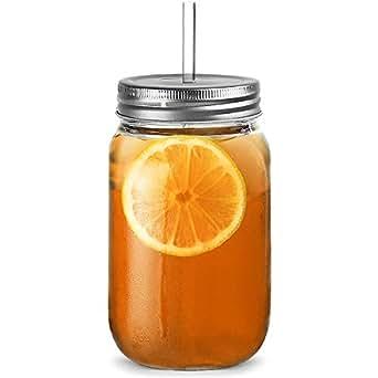 Bocaux En Plastique Gobelets Potable 20 Oz / 568Ml - Paquet De 4 | Bar@Drinkstuff San Plastique Pots D'Alcool Avec Couvercle Et Paille, De La Confiture Lunettes De Jar