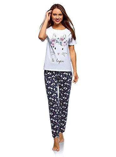 oodji Ultra Mujer Pijama de Algodón con Pantalones, Blanco, ES 42 / L