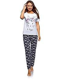 oodji Ultra Mujer Pijama de Algodón con Pantalones