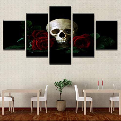 Moderne HD Drucke Malerei Rahmen Wohnkultur Leinwandbilder 5 Stücke Rote Rosen Blume Schädel Poster Halloween Wohnzimmer Wandkunst Frame (Poster Halloween 2019)
