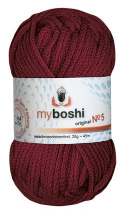 Myboshi No. 5, Farbe 535 bordeaux, 25g Knäuel, Sommerwolle, häkeln, Seelengarn, 57% Baumwolle und 43% Polyamid, Trendwolle, Häkel- & Strickgarn