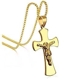 Hombre Moda Acero Inoxidable Jesus Crucifijo Colgante Box Cadena Collar Chapado En Oro