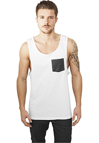 URBAN CLASSICS - Leather Imitation Pocket Loose Tank (white-black) White-Black