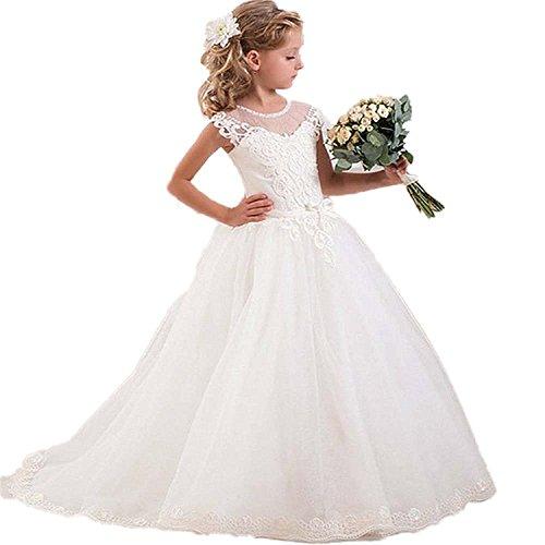 TBdresses Spitze Blumenmädchen Kleid für Hochzeiten lange Zug Tulle Mädchen erste Kommunion Kleid kleine Mädchen Hochzeitskleid (14, Weiß)