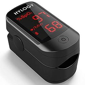 Pulsoximeter HYLOGY Finger Oximeter Blutsauerstoffsättigung Monitor mit OLED Display, Herzfrequenz Oximeter für das Gesundheitswesen (schwarz)