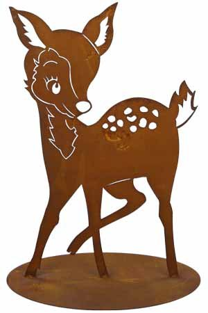 Rost Tier Reh 42 cm Hirsch Wald Deko Dekoration Edelrost Garten Metall Eisen