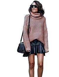 Chandail Col Roulé Femme Pull Laine Chauve Souris Vintage Haut Tricoté  Chemise Oversize Tunique Automne Hiver ab143803e998