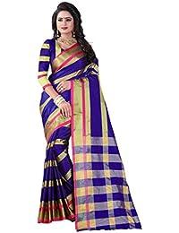 Vastrang Women's Cotton Silk Saree With Blouse Piece(A124_Navy Blue_Free Size)