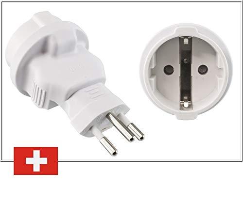 DINIC Reiseadapter, Stromadapter für die Schweiz, 3-Pin CH Adapter mit Sicherung (1 Stück, weiß)
