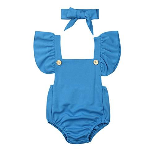 ❤❤JiaMeng Baby Body Mädchen Outfits Kleidung Dot Rüschen Strampler Body + Stirnband Set Polka Dot Heißprägen Baby Mädchen Kleidung Prinzessin Sommer Party Spielanzug Strampler Bodys Einteiler(3M-24M) -