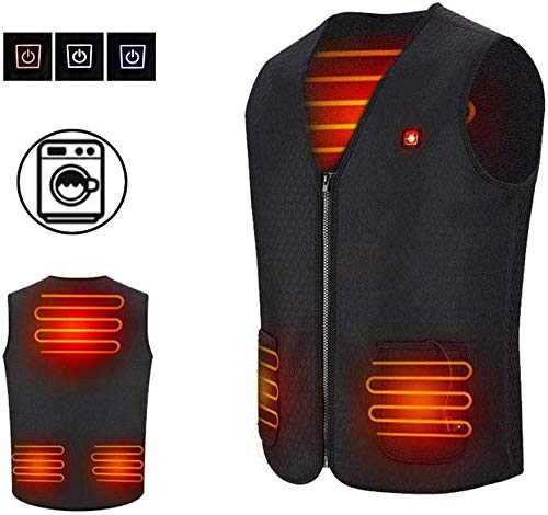 HEAXHOT Gilet Elettrico Riscaldato per Donne e Uomini, Lavabile Taglia Regolabile USB Ricarica Abbigliamento Riscaldato per Motoslitta Bici Equitazione Golf,S