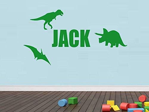 (zzlfn3lv Custom Made Dinosaurier Wandaufkleber Aufkleber Name Aufkleber Kinderzimmer Schlafzimmer Dekor-Sie wählen Namen 30 * 60cm)