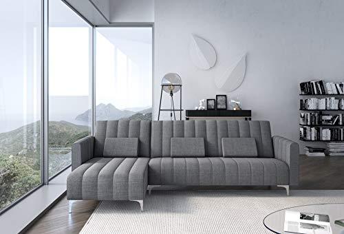 Comfort Canapé d'angle Convertible en lit, Chaise Longue Milano de 267cm, Convertible en lit, réversible, Gris Clair avec Rayures.