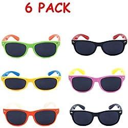 CoFash 6 Pack Hot Kids TAC Polarisation Sonnenbrille Wanderer Stil Soft feel Framed Eyewear für Boys Girls Kind Age 4-13 Party bevorzugt ideales Geschenk , random color