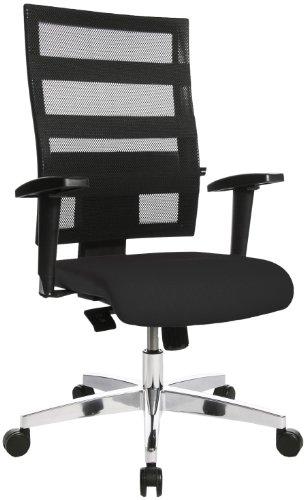 Topstar X-Pander, ergonomischer Bürostuhl, Schreibtischstuhl, inkl. höhenverstellbare Armlehnen, Netzbezug, Bezugsstoff, schwarz