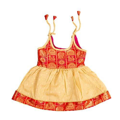 Preethi Dresse's Girls Cotton Silk Ethinc Wear (Pdnbb1_01_Red And Sandalwood Colour_0-3 Months)