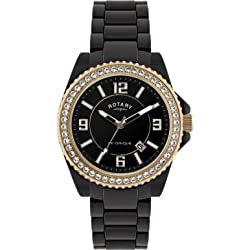 Rotary Unisex Quartz Watch with Black Dial Analogue Display and Black Ceramic Strap CEBBR/19/B
