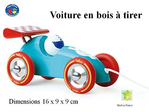 Superbe voiture de course bleue et rouge à trainer et à faire rouler - Dès 1 an - Made in France.
