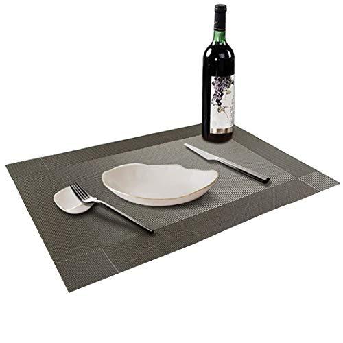 - ALLTOP Sets Tabellenplatzmatten Abendessen waschbare Kunststoff Vinyl platzsets / tischläufer, 45 * 30cm, Silber ()