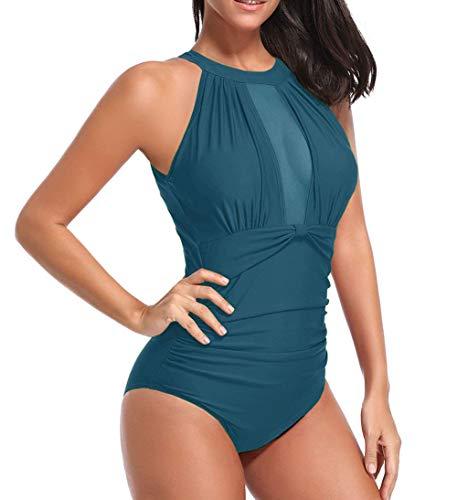 Vawal Womens 1 Stück Bikinis Hohe Taille Geraffte Badeanzug Gepolsterte Badebekleidung Sleeveless Beachwear Ausgeschnitten Bade Suti Feste Farben Tankinis Schwimmen Kleidung für Frauen (M, Blau) - Womens Ein Stück Kleidung