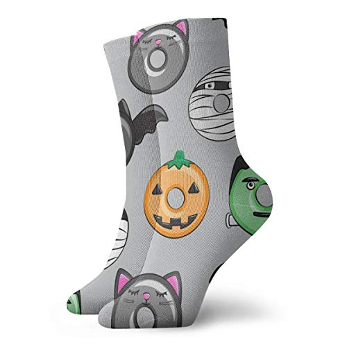 Huabuqi Halloween Fantasy Donut Medley Socken - Grau - Monsters Pumpkin Frankenstein Black Cat Dracula_4417, Farbe 谷 Rutschhemmend für Herren Damen 100% Baumwolle.