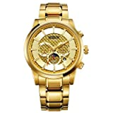 Binger Multifunctional Display Automatic Self-Wind Luminous Waterproof Watch for Men - N9808-Gold