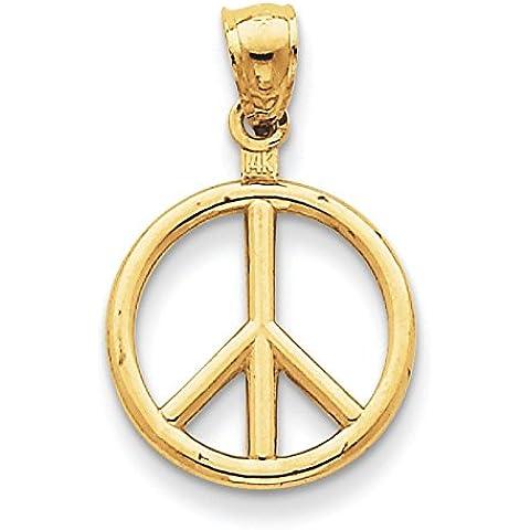 14K oro Lucidato pace segno Ciondolo–Misure 24,8x 15.8mm