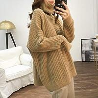 IJL Loose Lazy Wind Sweater Jersey de Manga Larga Otoño e Invierno Casual Sweater Cuello Alto Casual Khaki Code