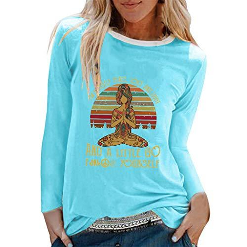 TYTUOO Tops Für Damen Casual Yoga Print Shirts O-Ausschnitt Langarm Top Lose T-Shirt Bluse - Knit Cropped Legging