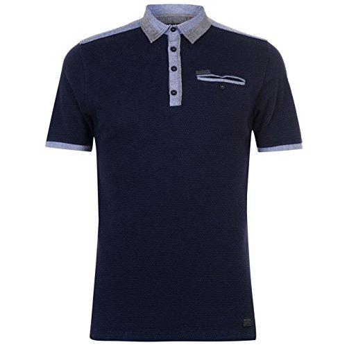 Firetrap Homme Seal Chambray Polo T-Shirt Top Haut Tee Manche Courte Tennis Golf Bleu Marine XL