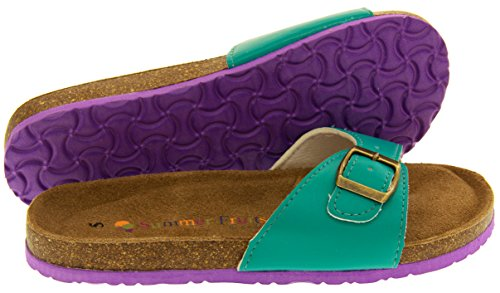 Coolers YF07061 Faux Cuir Sangle Boucle Sandales Mules Femmes Vert