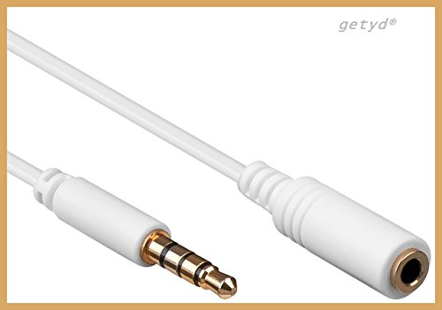 1m Verlängerungskabel Klinke vergoldet 4 polig 3,5mm z.B. für apple iPod iPhone iPad Samsung LG
