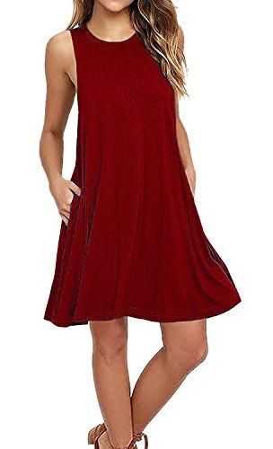 iPretty damen Ärmellos Casual lose T-Shirt Kleid mit kleiner Tasche, rot, 44, 2XL (Sportbekleidung Ärmelloses Damen)
